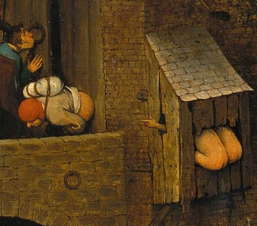 Netherlandish Proverbs (detail) By Pieter Breughel The Elder, 1559 U201cThey  Both Crap Out Of The Same Hole.