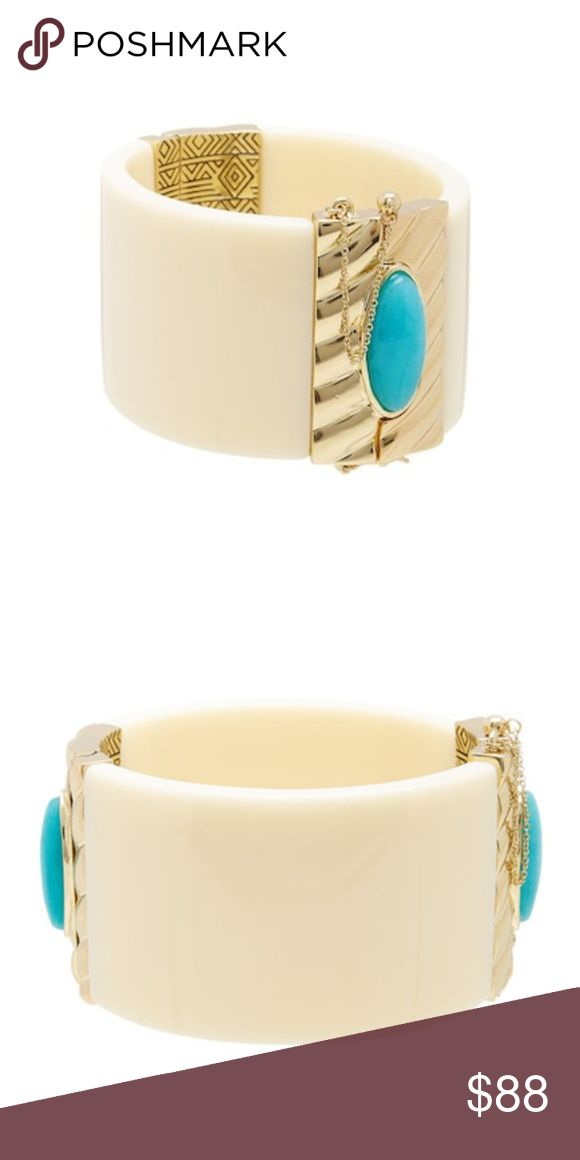 "NWT House of Harlow Ivory Hinge Bracelet Solid ivory cuff with gold-tone plated ribbed detail with Brazilian Amazonite stone - Push-pin hinge closure - Approx. 2.5"" inner diameter, 1.5"" width - Imported Materials: Gold-tone plated metal, stone  House of Harlow 1960 Ribbed Valda Hinge Bracelet. Comes with velvet HOH 1960 pouch. House of Harlow 1960 Jewelry Bracelets"