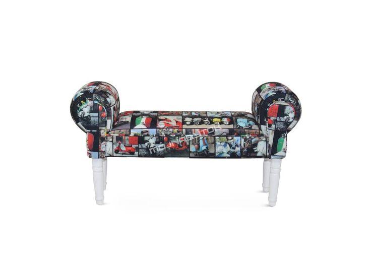Štýlová lavica CHARADE / retro s tromi farebnými prevedeniami nôh.