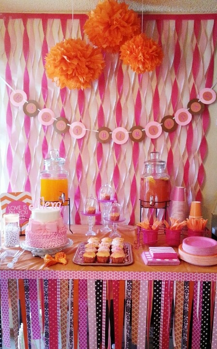 Baby Alexa's first birthday party! Pink and orange.