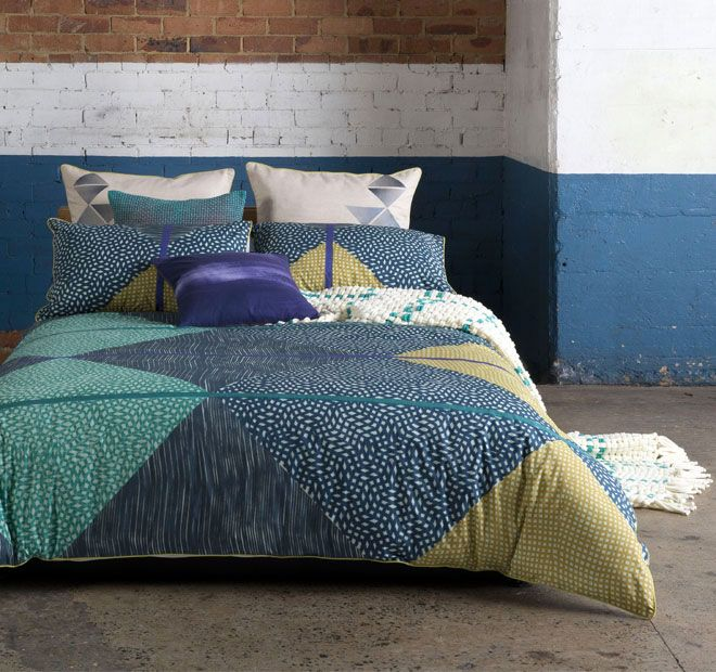 Zane Multi KAS ROOM  Add pattern and texture to your bedroom with this tribal inspired print in on trend tones of mustard, teal, navy and charcoal.  Features: Cotton percale Printed - #quiltcovers