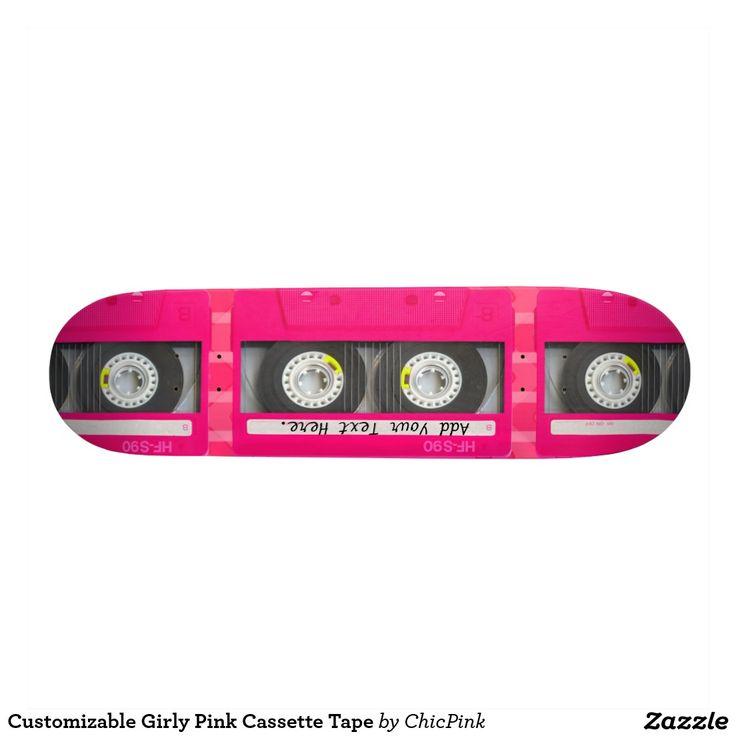 Customizable Girly Pink Cassette Tape Skateboard