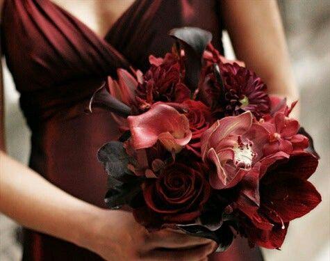 "Marsala Cymbidium Orchids,  Garnet Dahlias, ""Black"" Roses, Plum Calla Lilies & Chocolate Calla Lilies, Burgundy Amaryllis Bridesmaid's Bouquet"