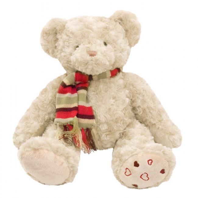 Darryl de beer met gestreepte sjaal in zittende positie. Deze wat traditionelere knuffel beer is gemaakt van hoge kwaliteit pluche. Lekker zacht en knuffelbaar. Van kleins af aan je beste vriend.