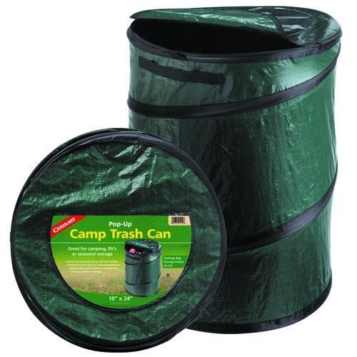 """Pop-Up Camp Trash CanManufacture ID: 1219Lightweight and handy trash can to have around the campsite, RV, or motor home. This portable collapsible trash can is perfect for travel, and also makes a great laundry or storage bin. When you're finished using it, simply push it down flat, and secure closed with the Velcro straps for easy storage.Features:- Made of heavy duty polyethylene fabric- Fully zippered top, 2 web strap carry handles- Fits any standard 33 gallon (125 litre) trash- Size: 19""""…"""