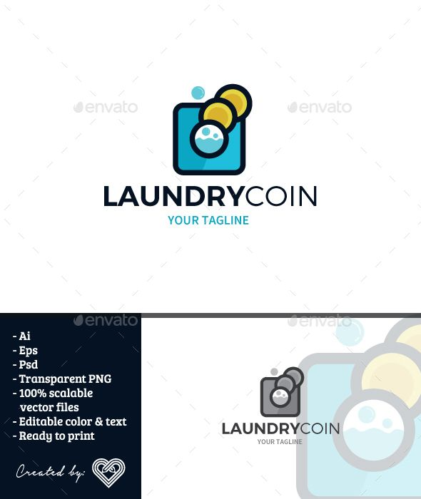 Laundy Coin Laundry Logo Logo Design Template Business Card Logo