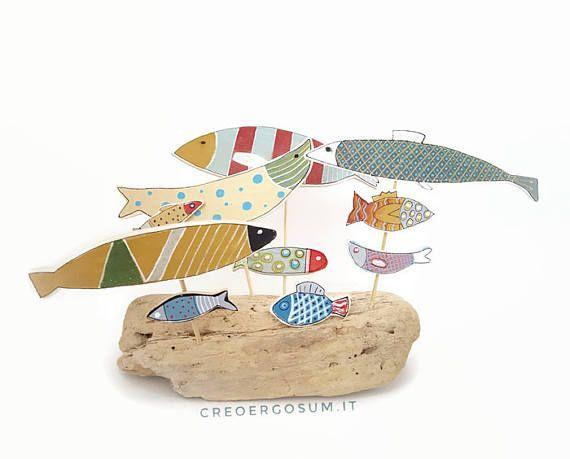 Mediterranean suspended fish tank sculpture wooden
