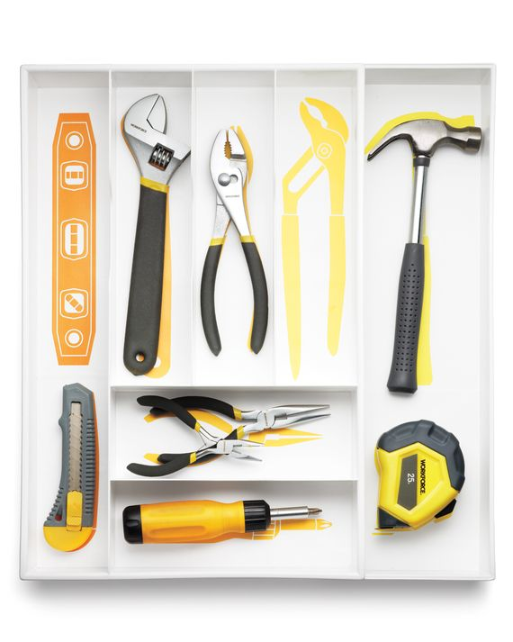 Line a drawer organizer with silhouettes of your tools so you'll always know where your monkey wrench goes (and when it goes missing). Just print our tool clip art onto sticker paper and attach to the drawer.Get the Tool Drawer Clip Art