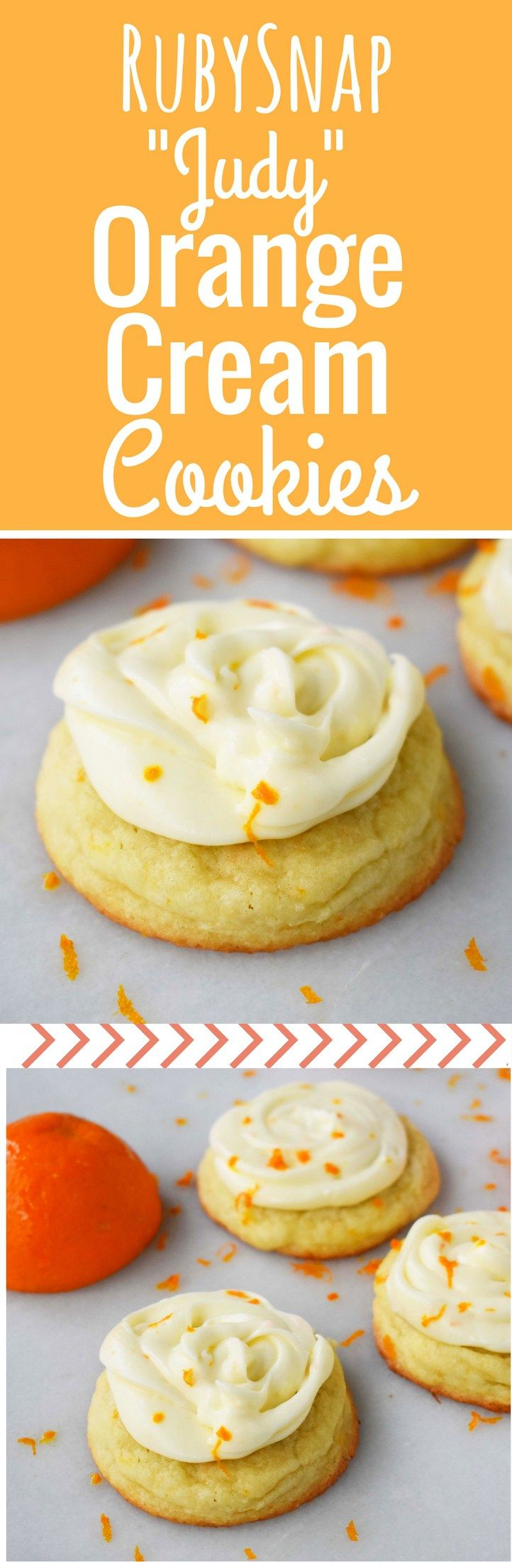 RubySnap Judy Orange Cream Cookies. Soft citrus orange dough cookie topped with sweet orange cream cheese frosting. An orange cream lovers dream cookie! www.modernhoney.com