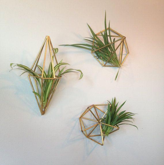 Set of 3 - Geometric air plant wall hangers - Brass Planter - Scandinavian himmeli mobile on Etsy, $48.00