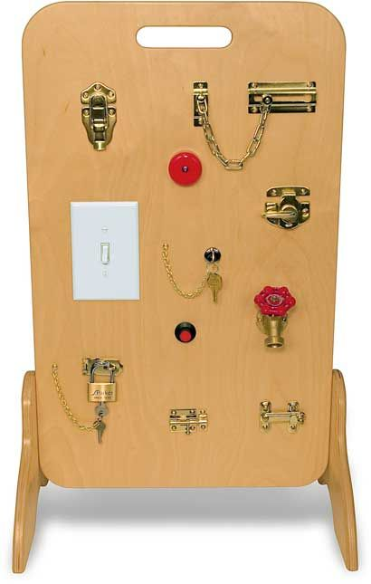 Locks & Latches board - Awesome as long as you don't mind them knowing how to open these things! : )