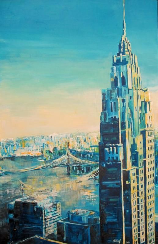 NY - IN THE EARLY MORNING AIR, akryl na papiery, 100 x 65cm, 2014,  BUY IT HERE: http://www.almondarte.com/products/view/10072