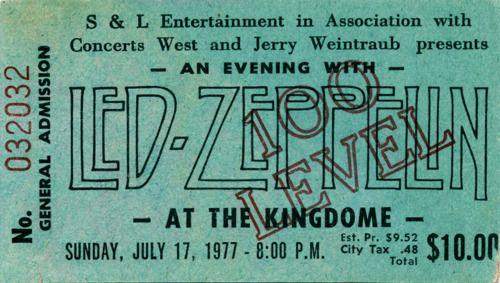 Led Zeppelin - at the Kingdom - july 17, 1977 http://cubiclerefugee.tumblr.com/post/24220991662