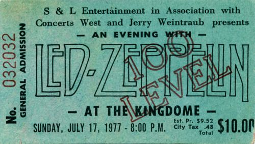 Led Zeppelin - at the Kingdom - july 17, 1977 http://cubiclerefugee.tumblr.com/post/24220991662