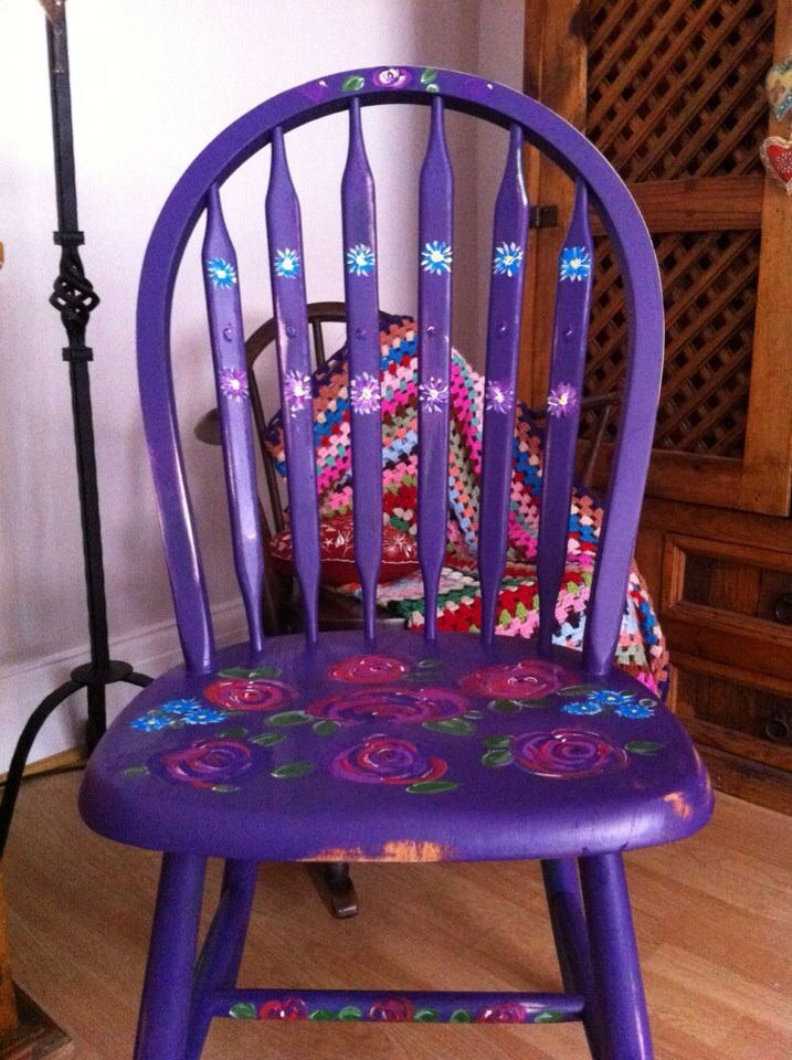 perfectly purple. Kitchen handpainted chair