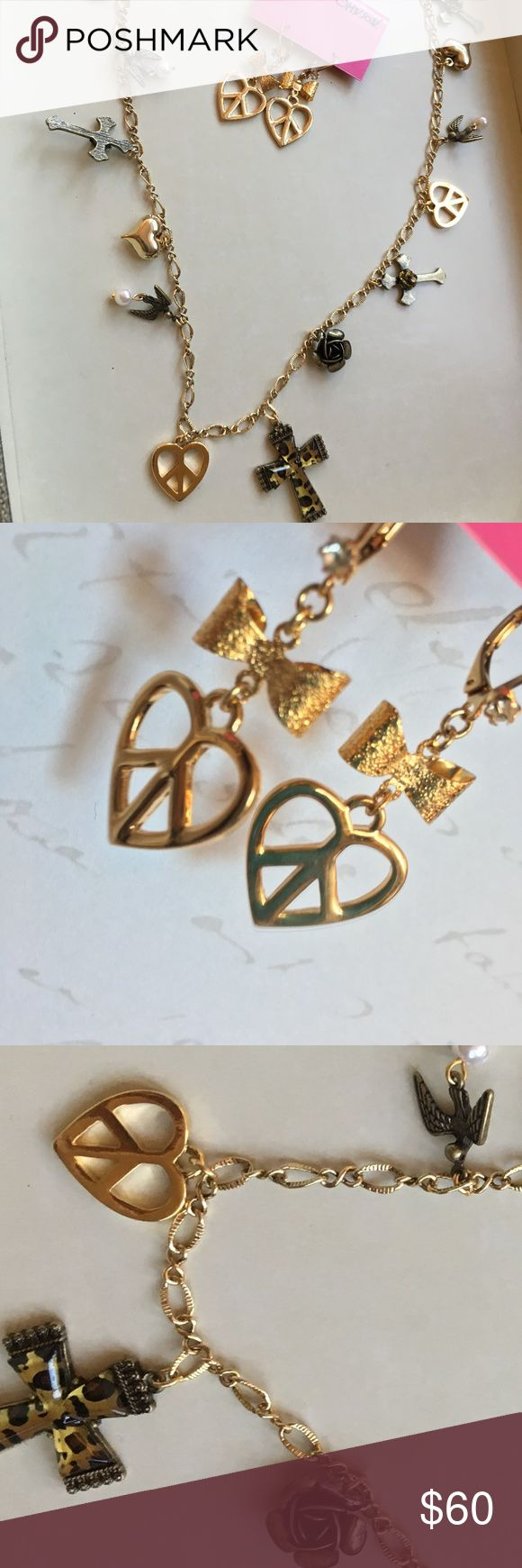Gold Heart Peace Sign Bow Necklace w/earrings BETSEY JOHNSON Gold Heart Peace Sign Bow Necklace with matching earrings, (Willing to sell separately)    Brand NWT **All pieces AUTHENTIC**.... !!Guaranteed 100%!! Please understand my Items are already being sold at lowest possible prices, (because if I save....you save!!). Thank you for shopping my closet Betsey Johnson Jewelry Necklaces