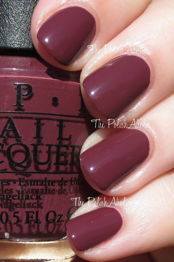 OPI Spring/Summer 2014 Brazil Collection Swatches // OPI Scores A Goal! is a dark purple toned red creme. I don't really know what you'd call this color...raisin? Raisin sounds good lol! The formula was good, it was a little patchy on the first coat but completely opaque with the second. I used 2 coats for the photos below.