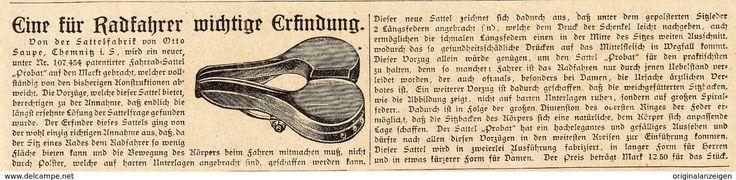 """Werbung - Original-Werbung/ Anzeige 1902 - FAHRRAD-SATTEL """"PROBAT"""" / OTTO SAUPE - CHEMNITZ - ca.180 x 45 mm"""