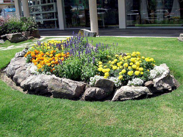 garten ideen gartengestaltung steingarten sommerblumen salbei tagetis