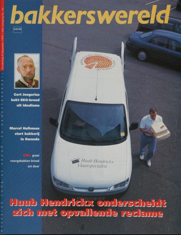 "Coverstory in Elseviers vakblad  Bakkerswereld over opvallende mini-dagblad ads (ct+cy) die ik maakte voor ""De Vlaaienspecialist"" Huub Hendrickx."