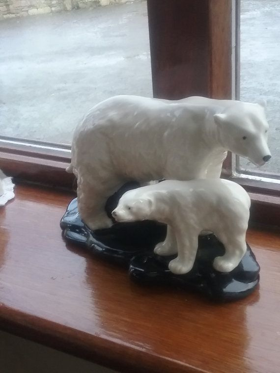 Mother Polar bear and cub porcelain figure by hillgroveporcelain