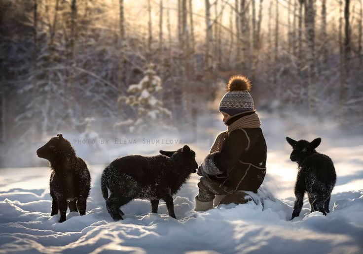 Russian photographer, Elena Shumilova, enjoying farm life with her two children and animals on her farm in Russia.