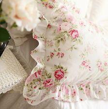 Shabby Chic Cottage цветочным рисунком с оборками квадратный Кушон подушка чехол белый хлопок