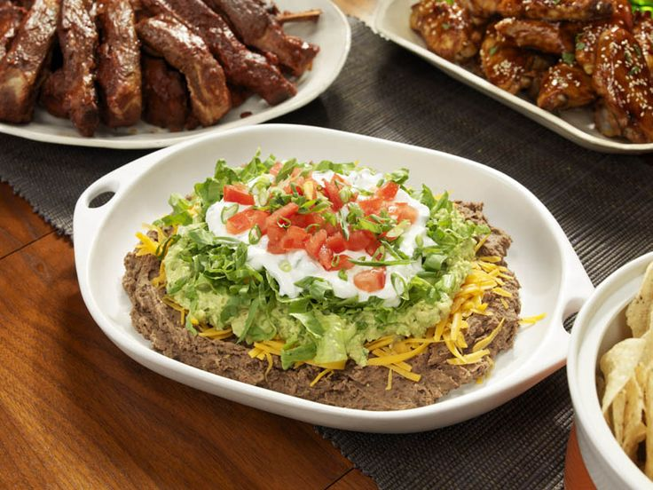 Six Layers and a Chip Dip #BigGame: Food Network, Mexicans Dips, Pinto Beans, Beans Dips, Layered Dips, Super Bowls Food, Chip Dips, Chips Dips Recipes, Games Day Recipes