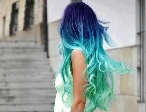 Sweet ombre hair. violet purple indigo blue teal mint ...