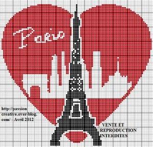 Grille gratuite point de croix : Paris Tour Eiffel Coeur