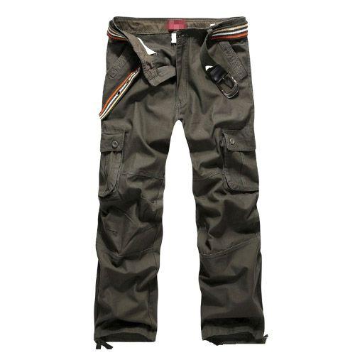 Pantalon Homme Cargo Essential Men Fashion Poches Militaire Vert