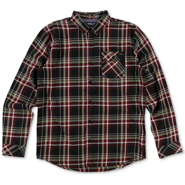 O'Neill Men's Olson Plaid Shirt ($55) ❤ liked on Polyvore featuring men's fashion, men's clothing, men's shirts, men's casual shirts, black, mens plaid shirts, classic fit mens shirts, mens bib overalls and mens overalls