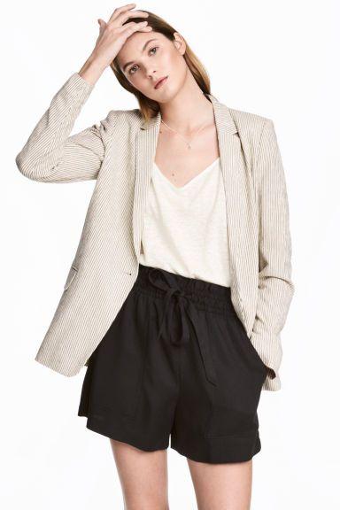 Pantaloni scurți de lyocell - Negru - FEMEI | H&M RO 1
