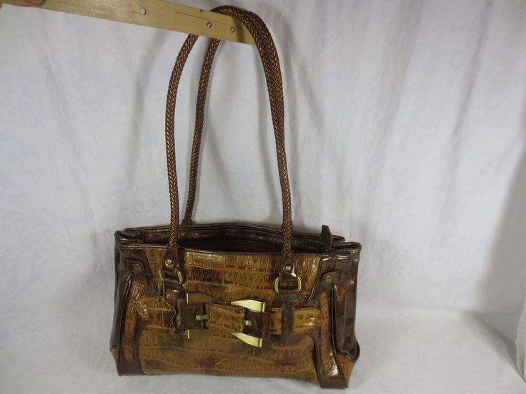 "Marc Chantal Brown MC LEATHER PURSE Shoulder Bag ~12"" Straps, 14x9x5+"" Crocodile #MarcChantal #ShoulderBag"