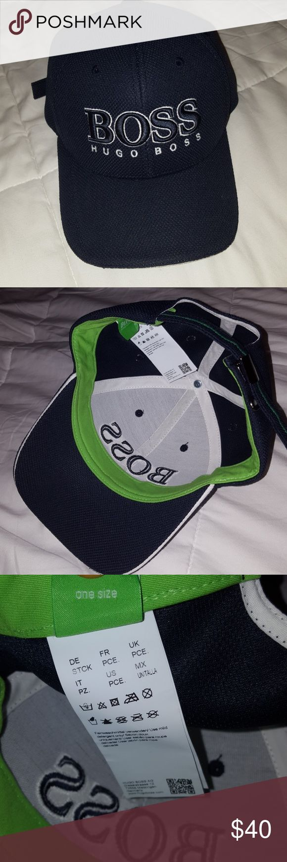 Hugo Boss Hat Navy blue and lime green accent Hugo Boss Hat for men/teen boy with adjustable strap in the back... worn once... Excellent Condition! Smoke and pet FREE home Hugo Boss Accessories Hats