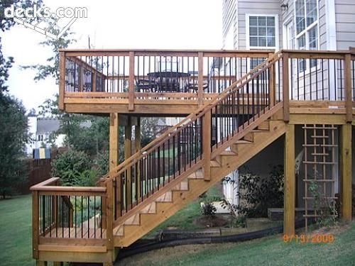 Deck with stairs outdoors pinterest stains decks for Second story deck plans pictures