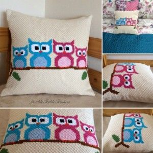 c2c Owl Cushion - free charted pattern from DoubleTrebleTrinkets.                                                                                                                                                                                 More