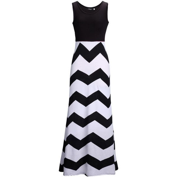 Black and White A Line Round Neck Color Block Maxi Dress ($14) ❤ liked on Polyvore