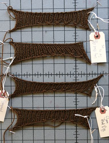 Stretchy Bind-Off Face-Off by stitchdiva, via Flickr. One I didn't know is the Lacey Bind Off - very close in a stretch contest with Jeny's Super Stretchy Bind Off (JSSBO) --  K2, * Transfer the 2 worked sts to the LH needle, and k2tog tbl, k1* repeat from *.