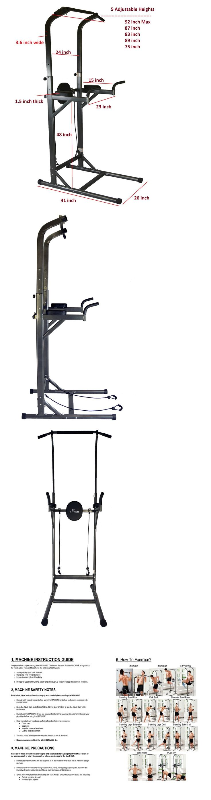 Pull Up Bars 179816: Deluxe Sturdy Chin Up Vkr Dip Station Power Tower Sturdy Push Up Pull Up Bar New BUY IT NOW ONLY: $118.5