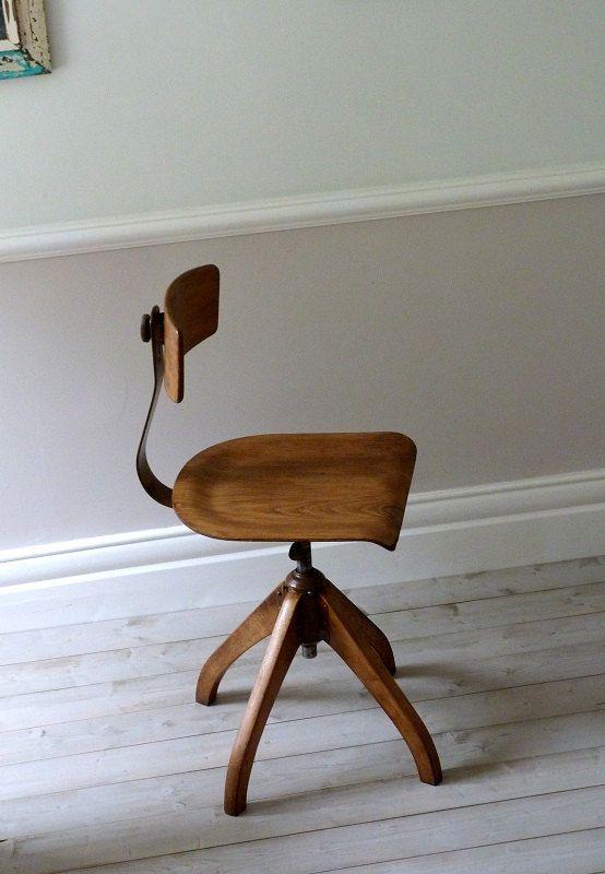 Vintage Bauhaus Oak Architects Desk Chair on Etsy, Sold