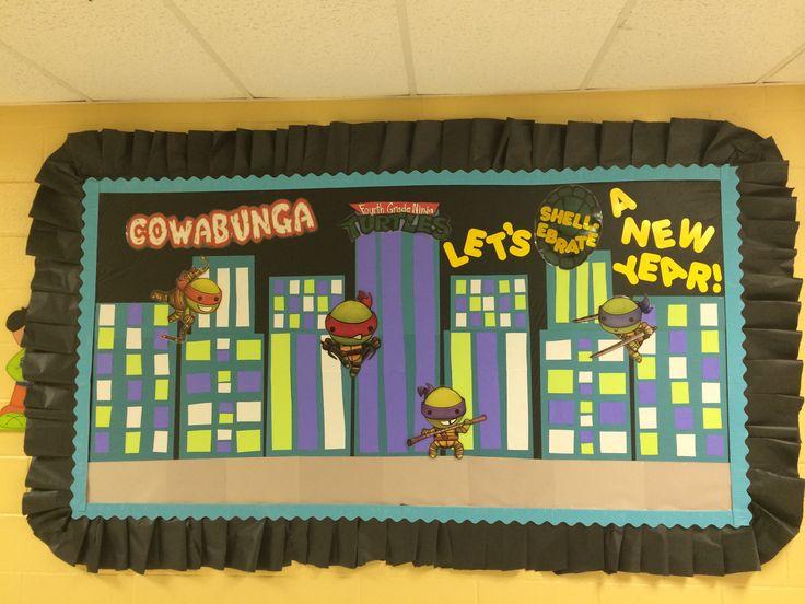 "Back to School Ninja Turtle Bulletin Board...""Cowabunga Fourth Grade Ninja Turtles, Let's Shell-ebrate a New Year!"""