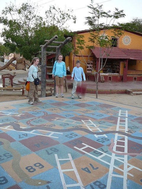 """A giant permanent outdoor game of """"Snakes & Ladders"""" in India. Photo by Flickr user richmond-india."""