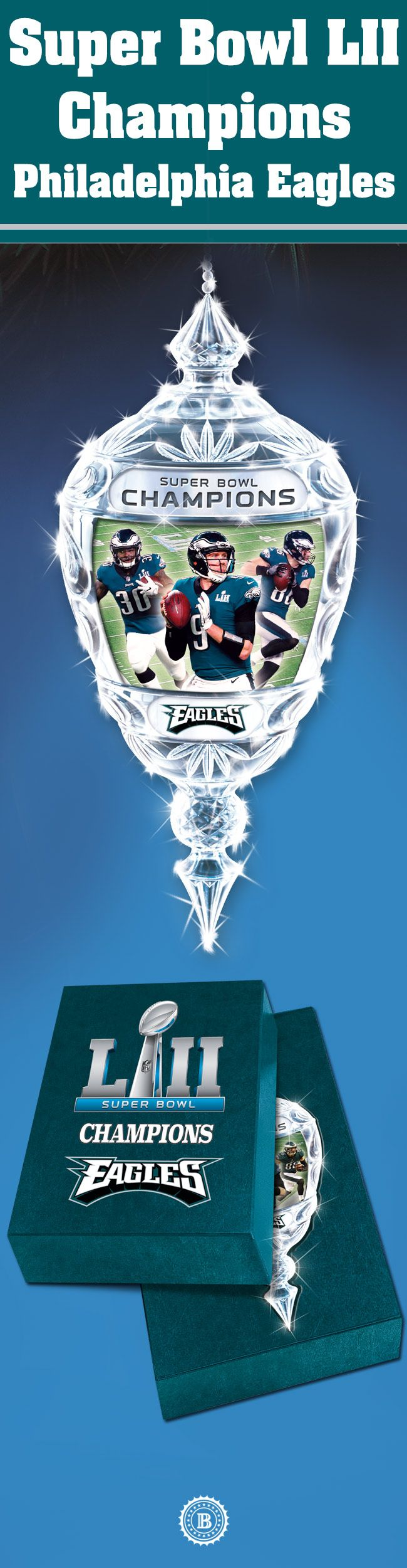Celebrate your Super Bowl LII Champions, the Philadelphia Eagles, for holiday seasons to come with this commemorative crystal ornament. Limited edition of 5,200!