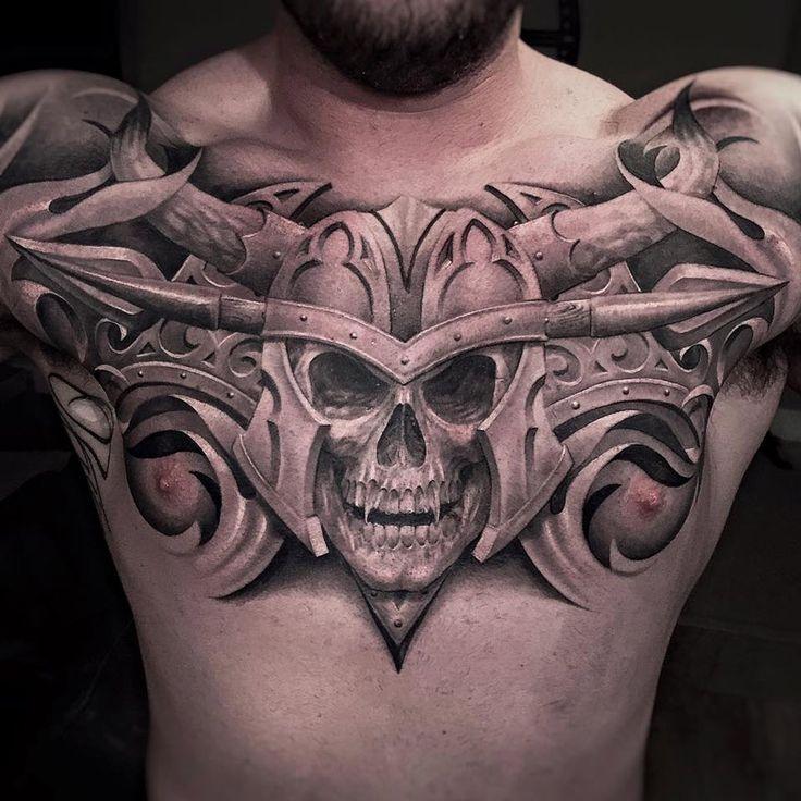 Vampire Skull Chest Tattoo http://tattooideas247.com/vampire-skull/