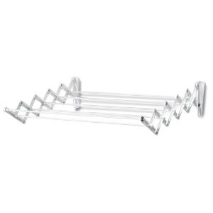 """Polder Wall-Mount 24-Inch Accordion Clothes Dryer, White.  This with a wood shelf """"frame"""" would be a great/cheap alternative to the ballard design option."""