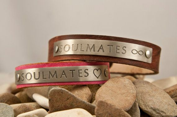 Soulmates, heart - infinity- leather half inch distressed bracelets - his and hers  pair