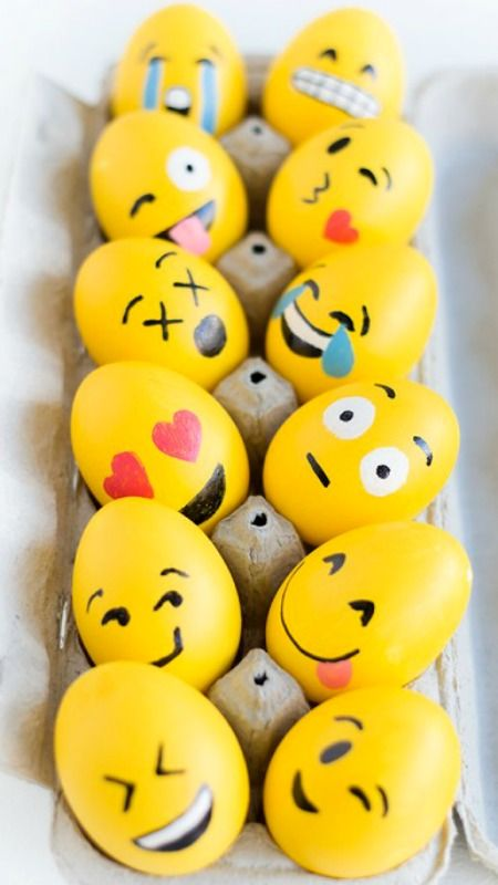 DIY Emoji Easter Eggs. For more beautiful pins check out the pinterest page: The land of joy