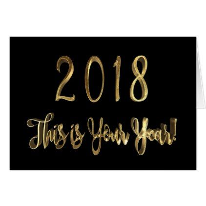 Happy New Year 2018 Motivational Quote Black Gold Card - New Year's Eve happy new year designs party celebration Saint Sylvester's Day