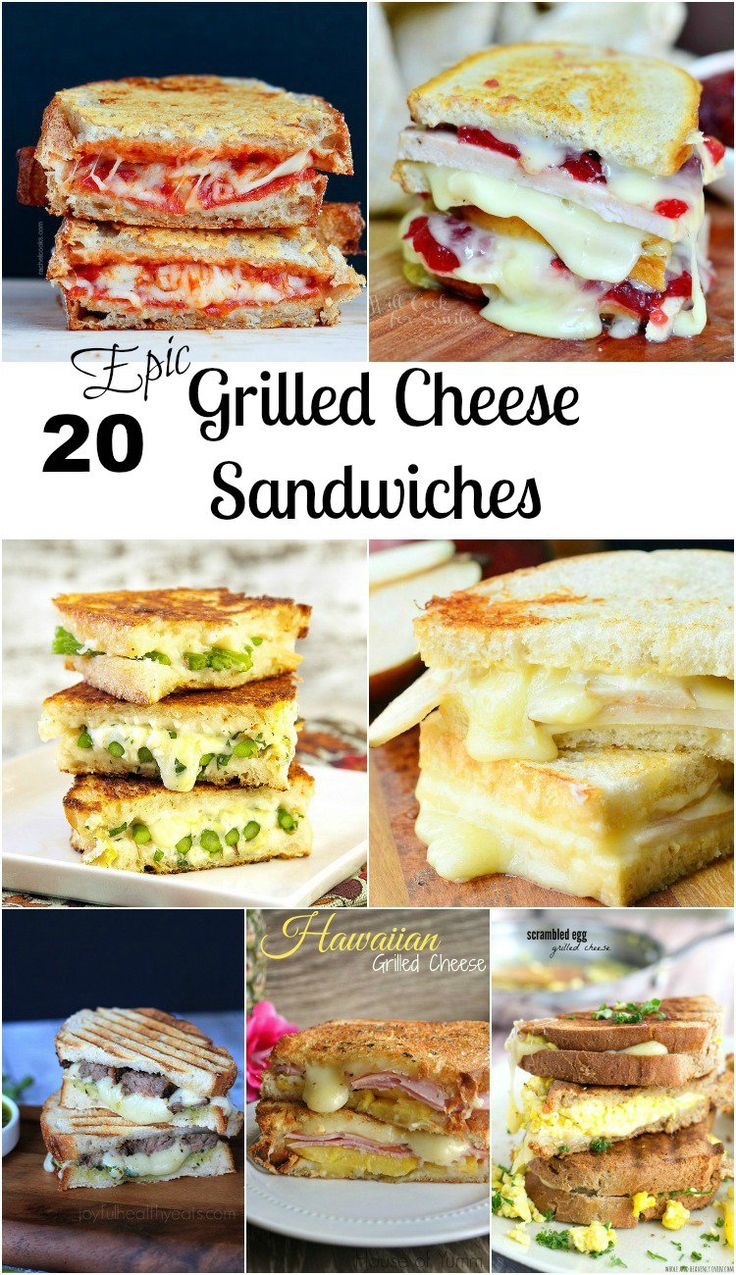 20 Epic Grilled Cheese Sandwiches. Fun spring dinner recipes.